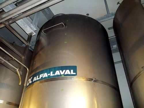Lot 172 - Alfa-Laval Tank, 10000 Liter (2641 Gallon), Type TV, Stainless Steel, Vertical. Coned bottom.