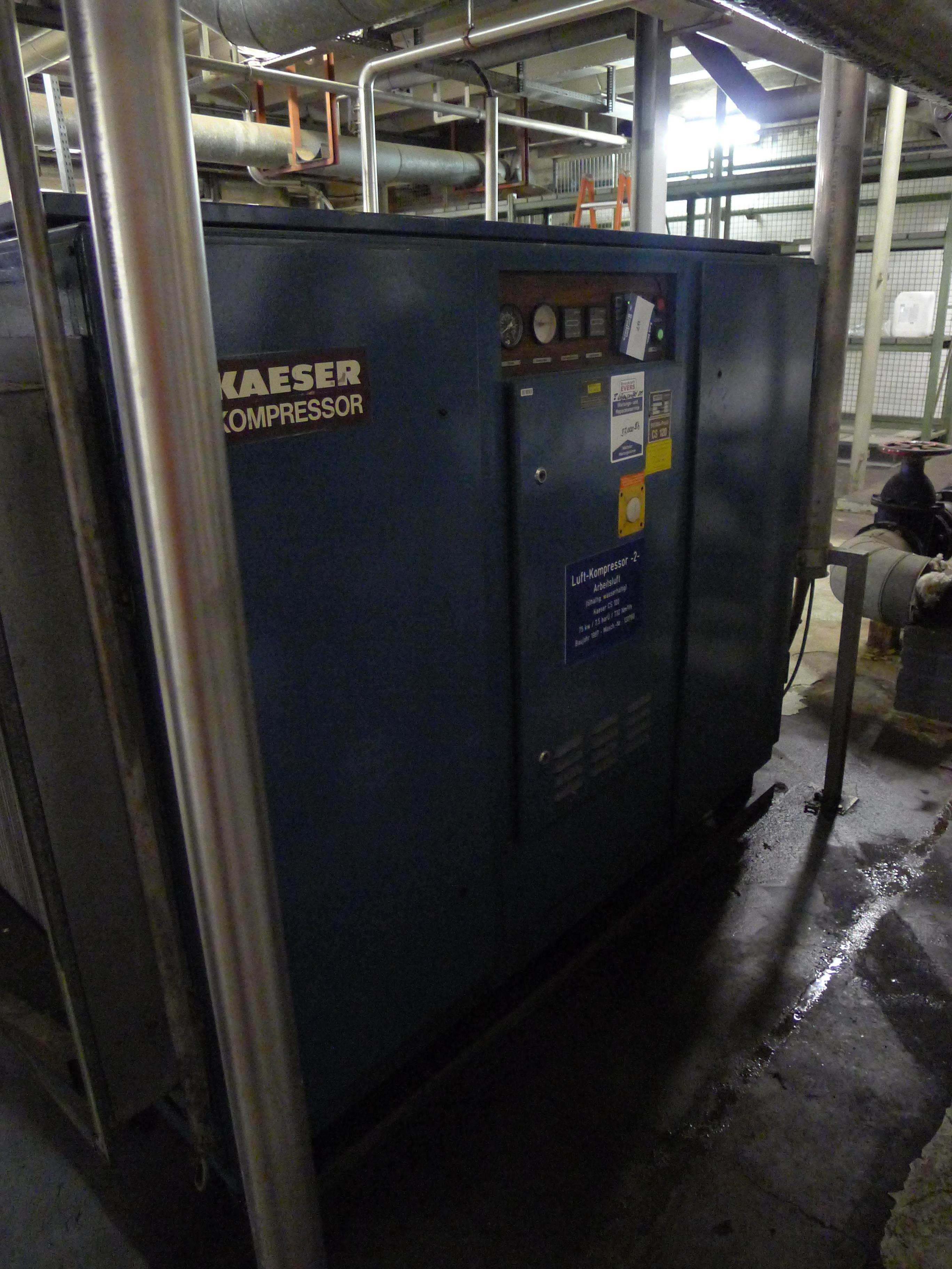 Lot 97 - Kaeser CS120 air compressor. Serial number 120766 (1989) (Dismantling and Loading Fee: €650)
