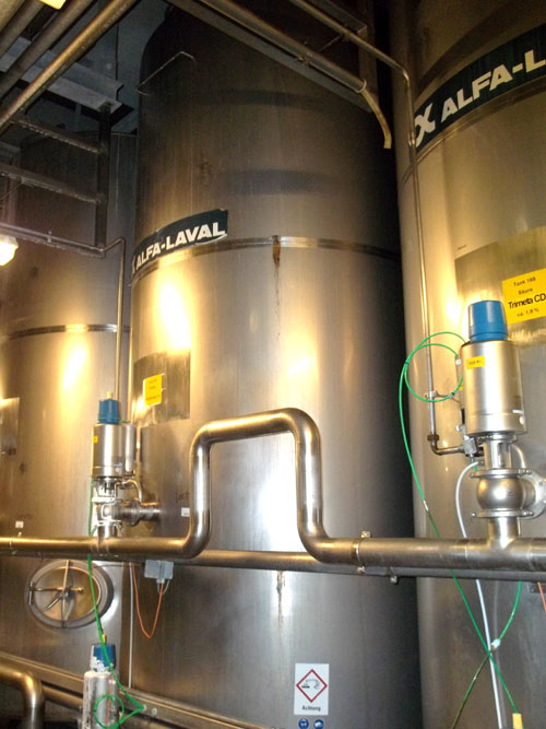 Lot 171 - Alfa-Laval Tank, 10000 Liter (2641 Gallon), Type TV, Stainless Steel, Vertical. Coned bottom.