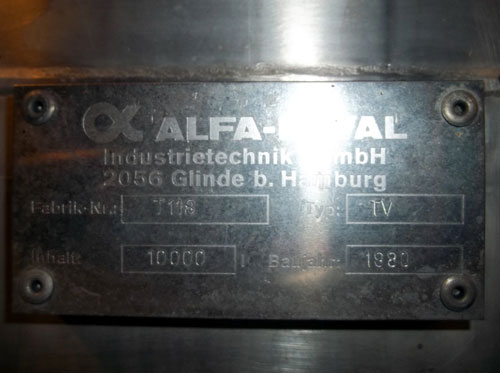 Lot 160 - Alfa-Laval Tank, 10000 Liter (2641 Gallon), Type TV, Stainless Steel, Vertical. Coned bottom.