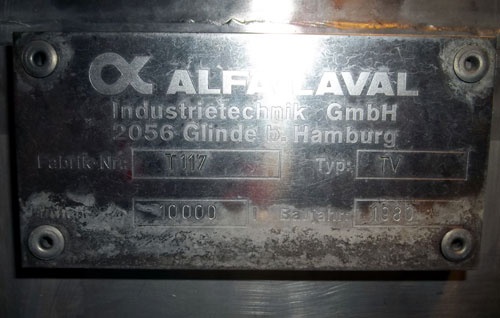 Lot 161 - Alfa-Laval Tank, 10000 Liter (2641 Gallon), Type TV, Stainless Steel, Vertical. Coned bottom.