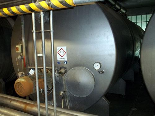 Lot 59 - Tuchenhagen stainless steel 19500 liter (5158 gallon) capacity CIP tank Horizontal on legs. New 1995