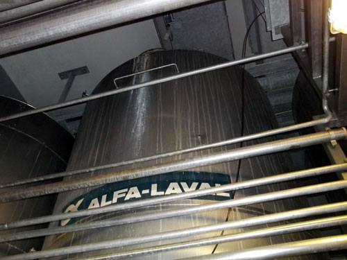 Lot 167 - Alfa-Laval Tank, 10000 Liter (2641 Gallon), Type TV, Stainless Steel, Vertical. Coned bottom.