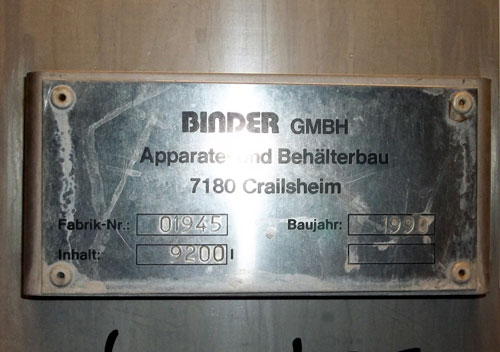 Lot 188 - Binder GMBH Tank, 9200 Liter (2430 Gallon), Stainless Steel, Vertical Coned bottom. Mounted on legs.
