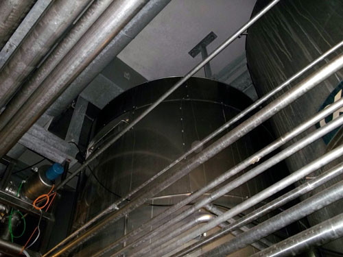 Lot 166 - Alfa-Laval Tank, 10000 Liter (2641 Gallon), Type TV, Stainless Steel, Vertical. Coned bottom.