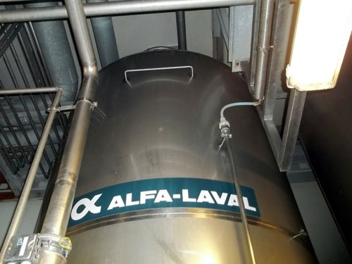 Lot 169 - Alfa-Laval Tank, 10000 Liter (2641 Gallon), Type TV, Stainless Steel, Vertical. Coned bottom.