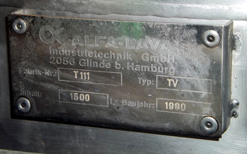Lot 136 - Alfa-Laval Tank, 1500 Liter (396 Gallon), Type TV, Stainless Steel, Vertical. Coned top & bottom.