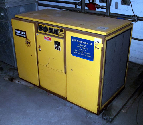 Lot 152 - Kaeser Sigma Screw Compressor, Type AS-35, 3.86 M3/minute. Serial# 3/6902, New 1991. (Dismantling