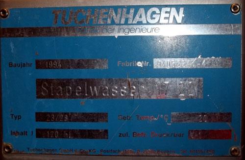 Lot 183 - Tuchenhagen Tank, 120 Hectoliter (3170 Gallon), Type T23/28, Stainless Steel, Vertical. Rated 1