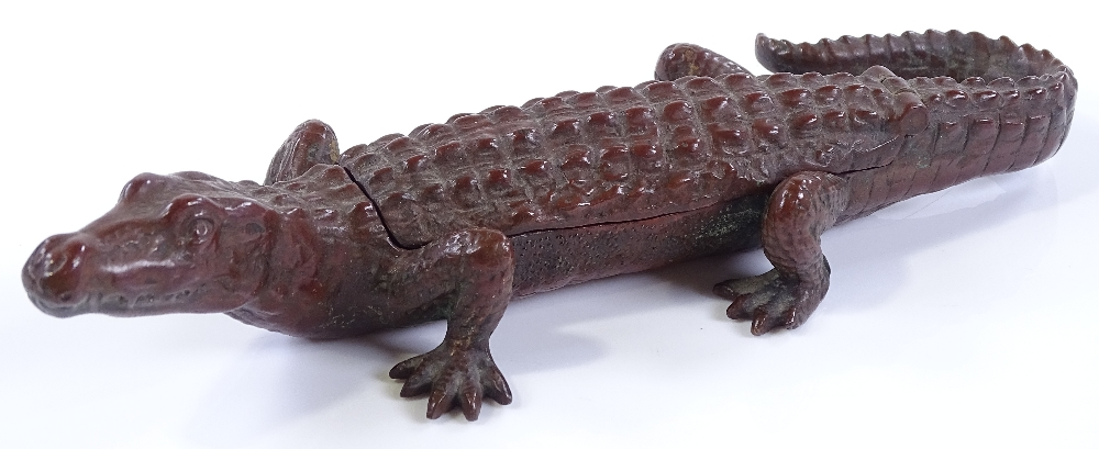 Lot 39 - A Vienna patinated bronze crocodile with a hinged