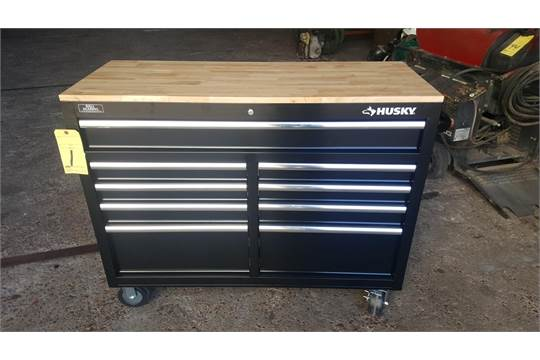 Toolbox Husky 46 9 Drawer Mobile Workbench Solid Wood Top W