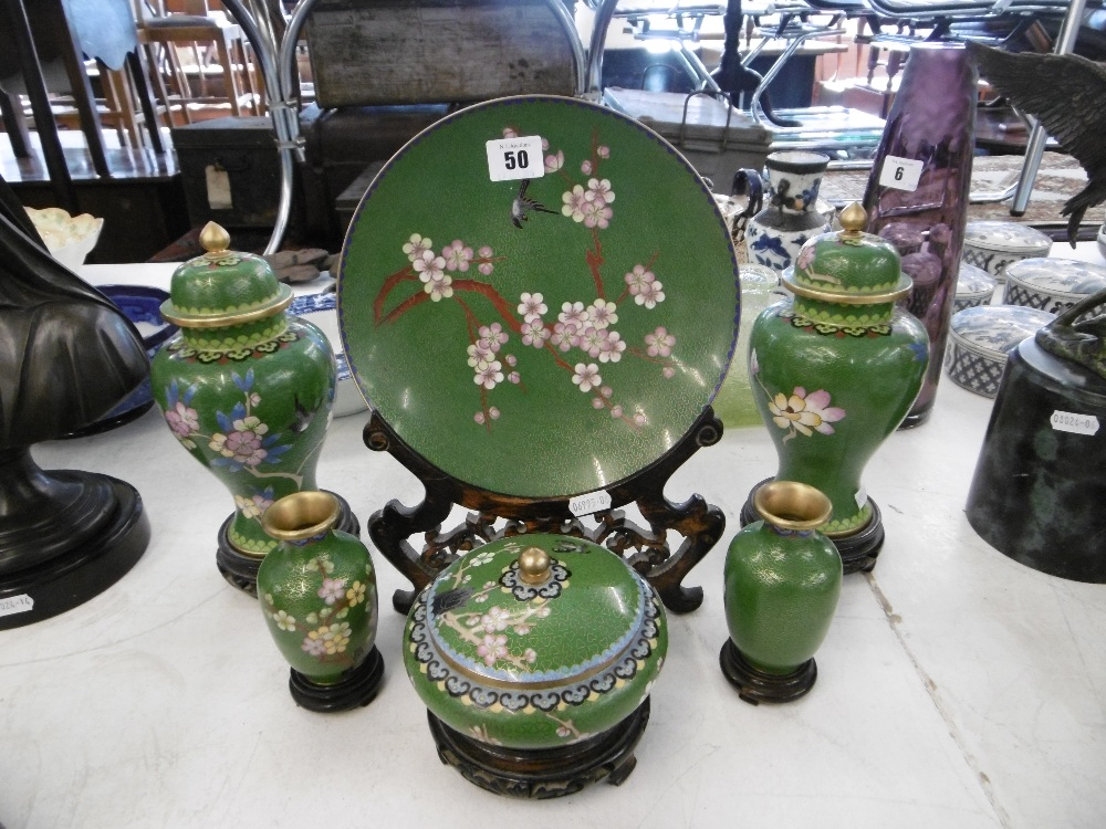 Lot 48 - SIX PIECES OF ORIENTAL CLOISONNE SET WITH STANDS, LIDDED VASES,