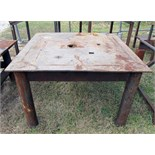"STEEL TABLE, 48"" x 48"" x 31-1/4"" ht., 1/8"" thk. steel plate table top, 4-1/8"" dia. hole in approx."