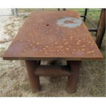 "STEEL TABLE, 48"" x 29"" x 26"" ht., 1-1/8"" thk. steel plate table top, welded cylindrical legs &"