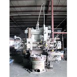 "DOUBLE COLUMN VERTICAL TURRET LATHE, KING 42"", 42"" table w/3-jaw boring mill jaws, fds: 0.00065-0."
