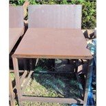 "ANGLED STEEL WORKTABLE, 35"" dp. x 41""W., 18"" high angled back, 2-1/2"" front lip, 35"" table height at"