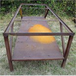 "STEEL TABLE, 97"" x 41"" x 31"" ht., 30"" height to upper shelf suppt. ledge, 96"" x 36"" x 1/8"" thk."