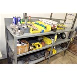 STEEL SHELVING UNIT, w/scrap metal, articulated lights, clamps, abrasives, etc.