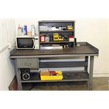 LOT CONSISTING OF STEEL WORKBENCH w/contents & STEEL SHELVING UNIT