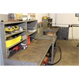 LOT OF STEEL WORKTABLES (3), w/fixtures, hold-downs, shop vacuums & repairable items