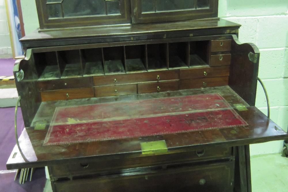 Lot 753 - A 19th century mahogany bureau bookcase,