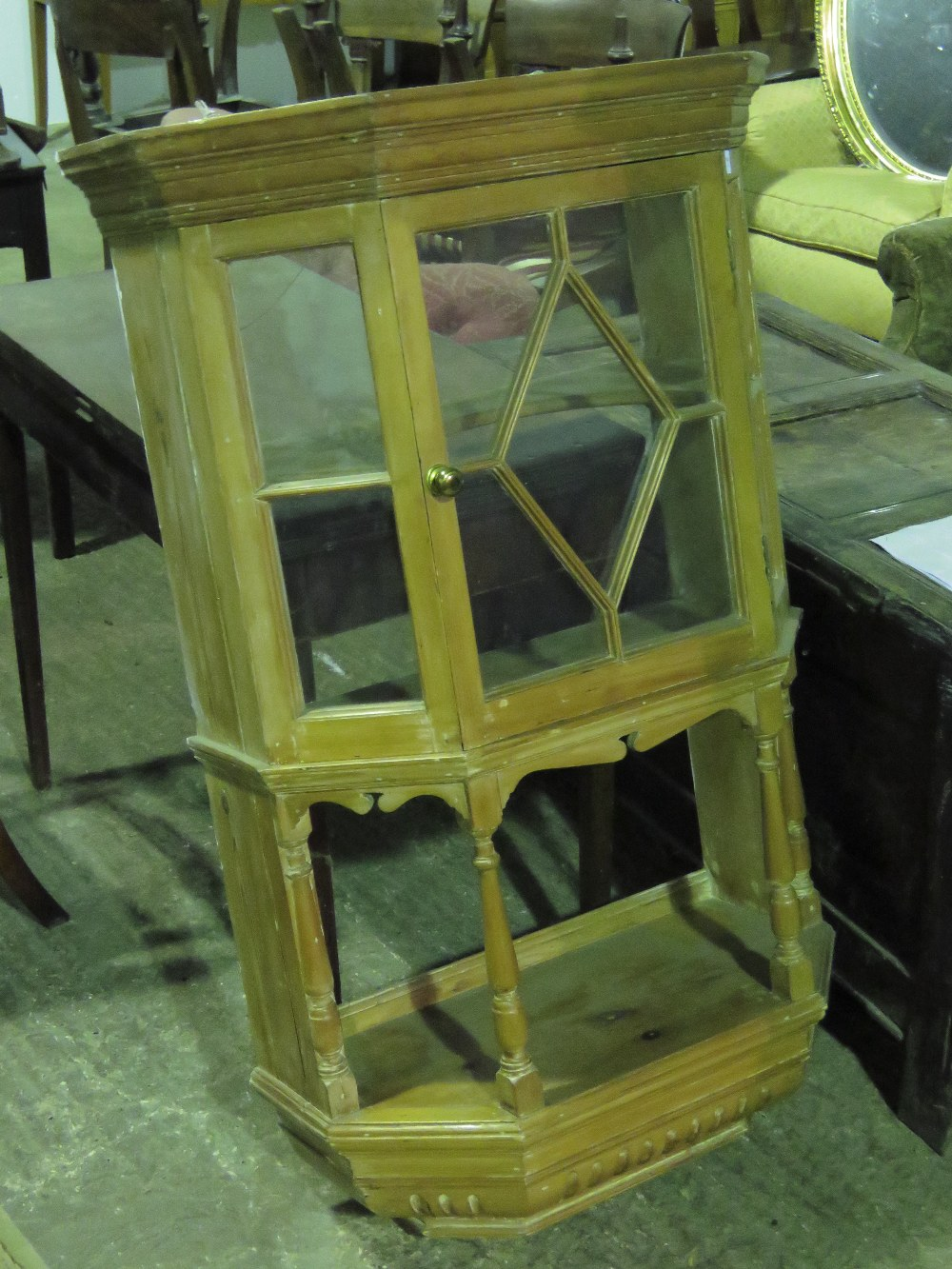Lot 792 - A wall hanging pine lazed display cabine