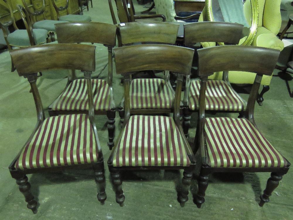 Lot 804 - A good set of six regency mahogany dinin
