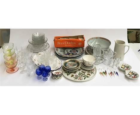 A mixed lot of glass and ceramics, to include Royal Doulton 'Burgundy', Royal Doulton ramekins; cut glass tumblers; portmeiri