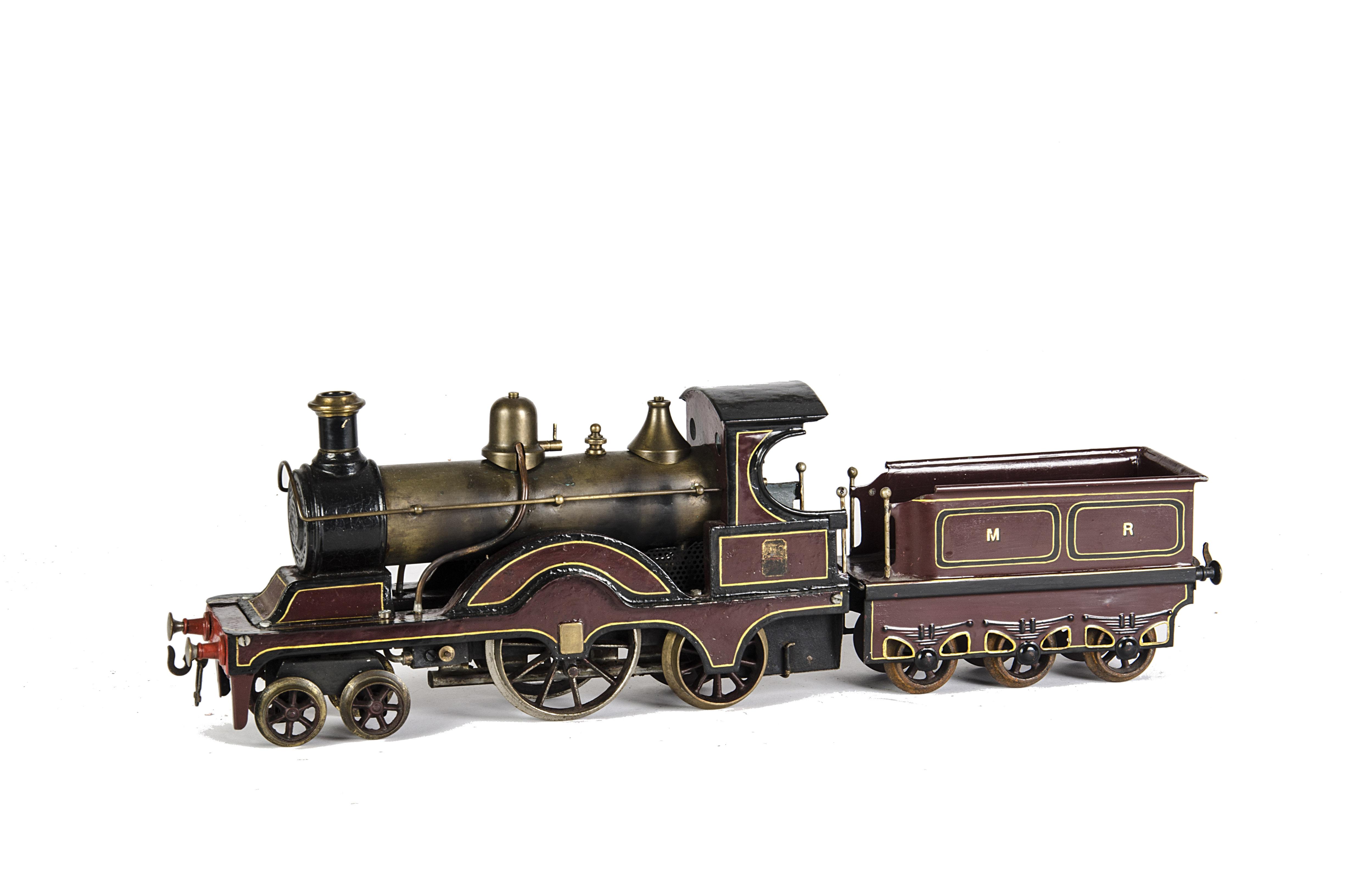 Lot 1092 - A Substantially-Repainted Bing Gauge 2 spirit-fired Midland Railway Locomotive 4-2-2 and Tender,