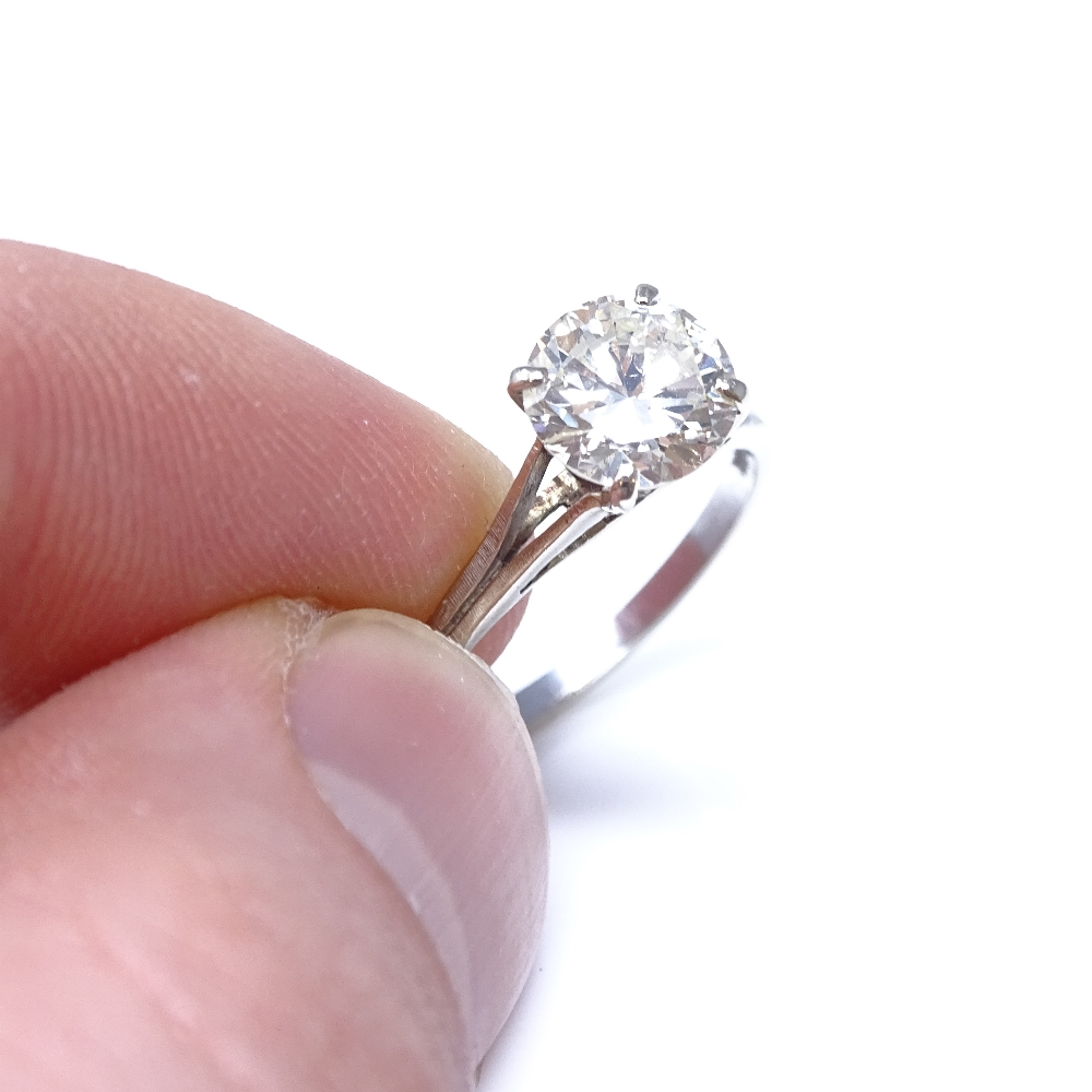 A 14ct white gold 1.6ct solitaire diamond ring, high 4-claw setting, diamond weighs approx 1.6ct, - Image 5 of 8