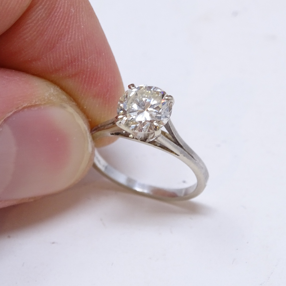 A 14ct white gold 1.6ct solitaire diamond ring, high 4-claw setting, diamond weighs approx 1.6ct, - Image 6 of 8