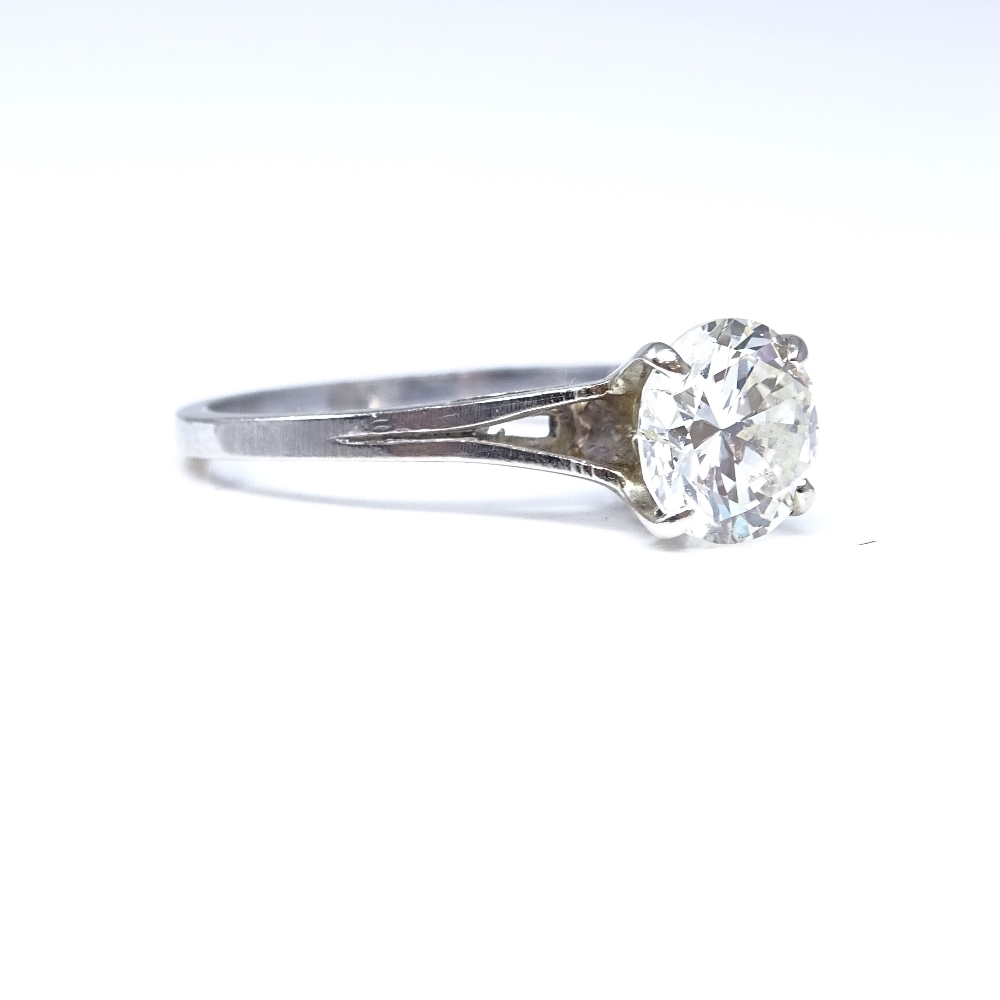 A 14ct white gold 1.6ct solitaire diamond ring, high 4-claw setting, diamond weighs approx 1.6ct, - Image 4 of 8