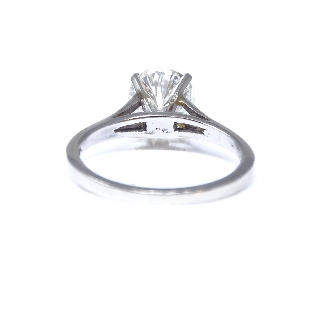 A 14ct white gold 1.6ct solitaire diamond ring, high 4-claw setting, diamond weighs approx 1.6ct, - Image 3 of 8
