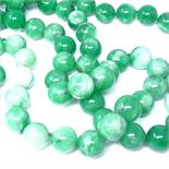 A long polished green quartz bead necklace, bead diameter approx 16mm, necklace length 120cm, Good