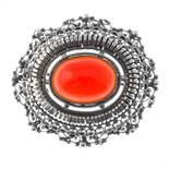 A selection of silver and white metal jewellery. To include a carnelian filigree brooch of oval