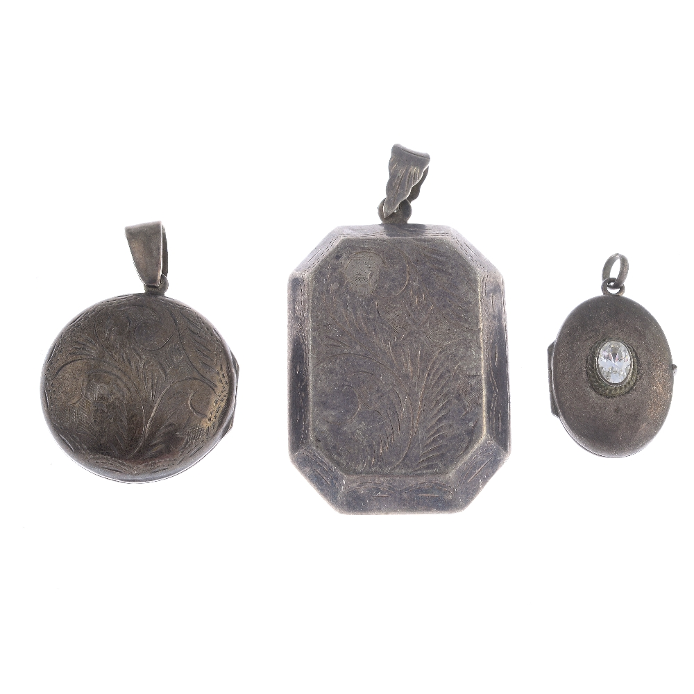 Lot 23 - Forty silver and white metal lockets. To include silver circular domed locket with an engraved