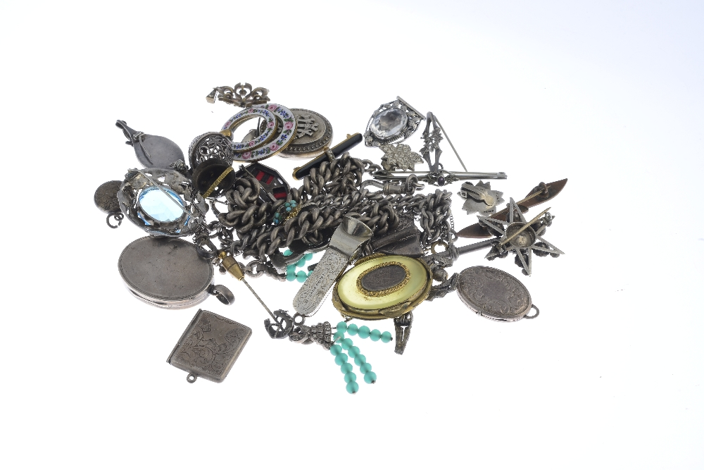 Lot 30 - A selection of Victorian and later silver and costume jewellery. To include a pair of Edwardian