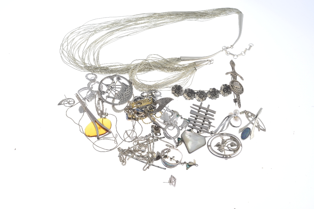 Lot 9 - A selection of mainly designer silver and white metal jewellery. To include a Geoffrey Bellamy for