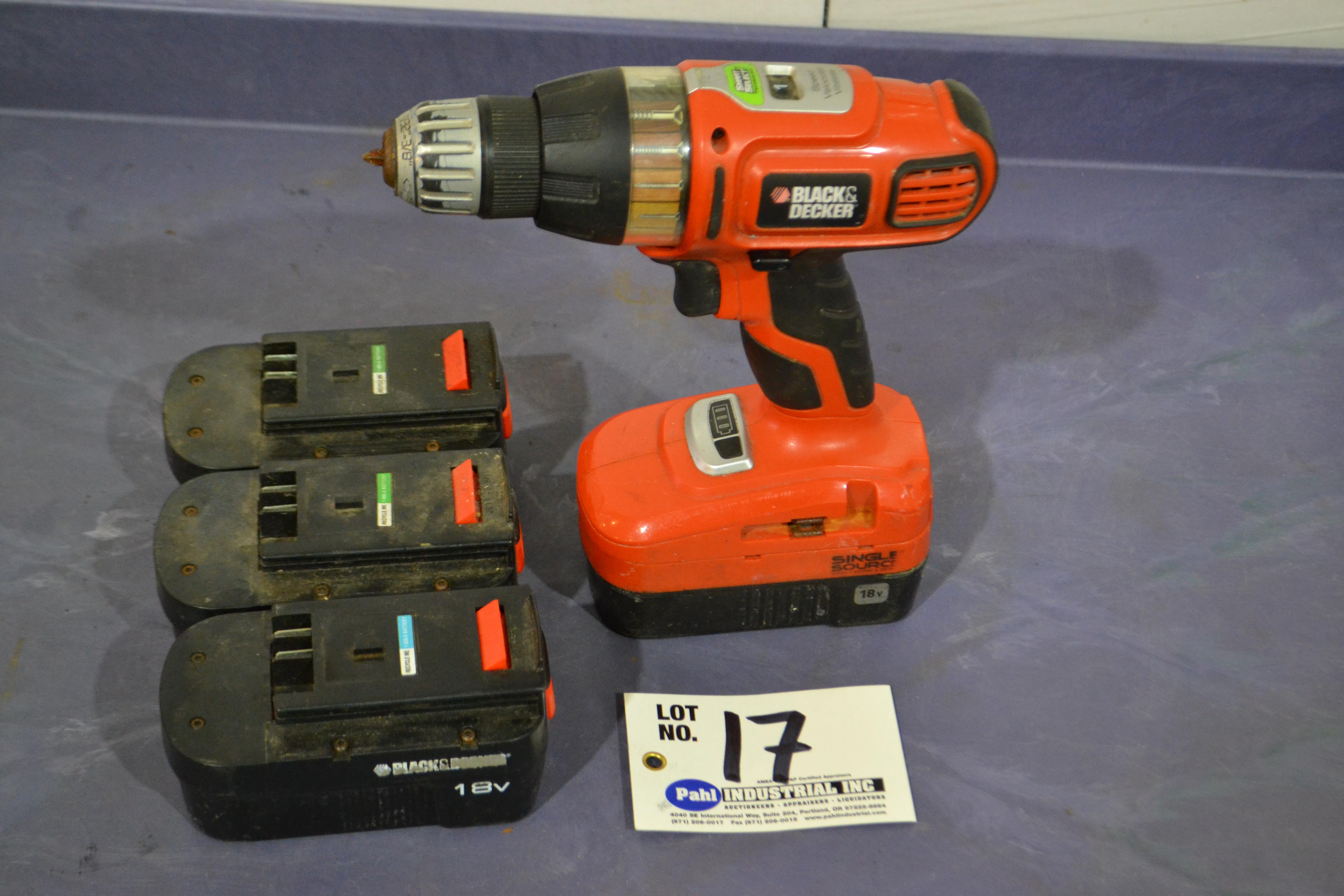 Lot 17 - Black & Decker 18V Cordless Drill c/w 4 Batteries no charger