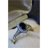 Lot 23 - Ladies 18ct gold sapphire & diamond engagement ring