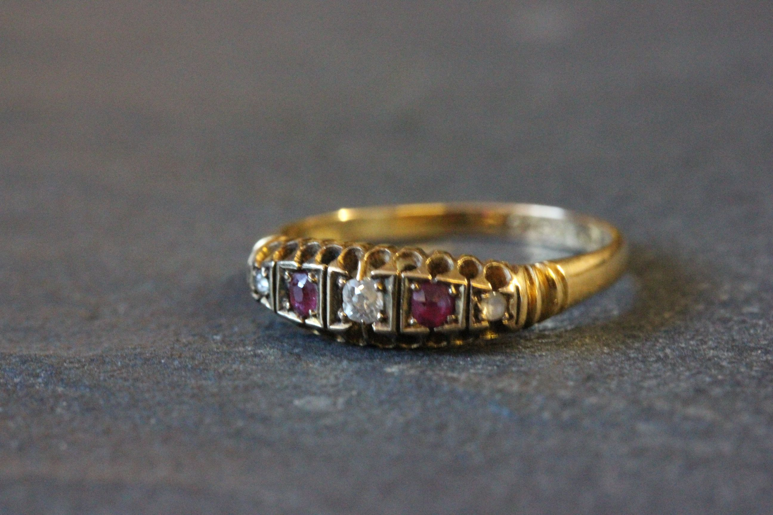 Lot 5 - 18ct Gold engagement ring with rubies & diamonds