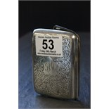 Lot 53 - Silver Cigarette Case with scrolling engraving, Birmingham 1925