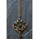 Lot 43 - Art Nouveau 9ct gold necklace & chain