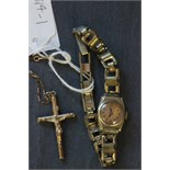 Lot 39 - 9ct gold crucifix pendant with 9ct gold chain and yellow metal ladies wrist watch