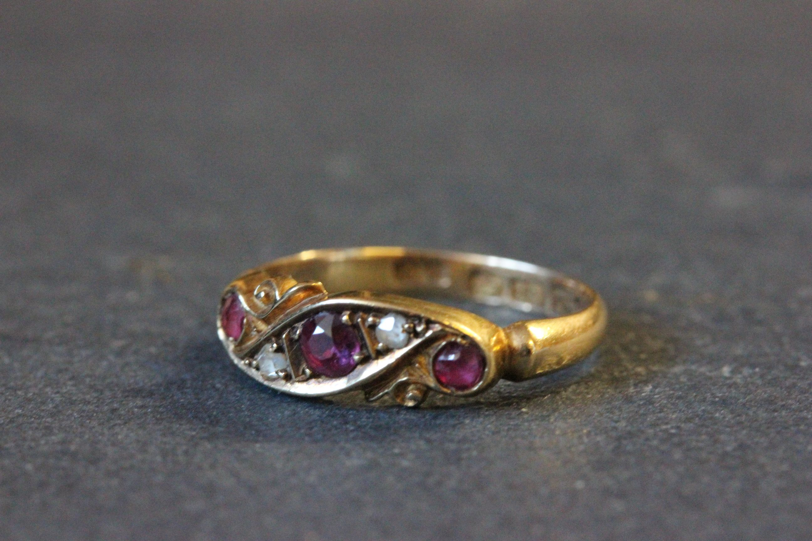 Lot 45 - 18ct Gold engagement ring with rubies & diamonds