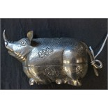 Lot 52 - Silver (tested) Box in the form of an Oriental Mythical Pig with a Horn