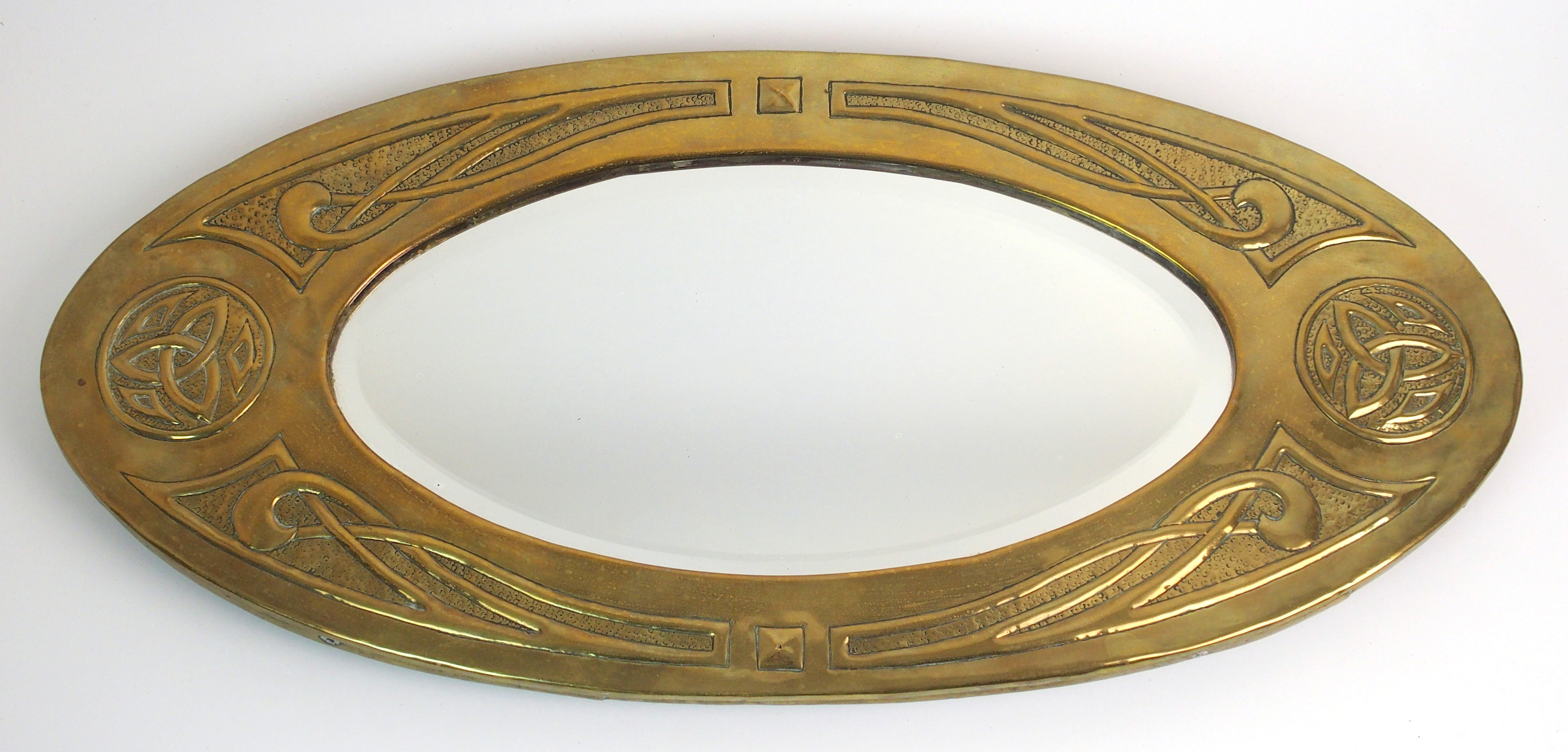 Arts and crafts mirrors - Lot 470 An Arts Crafts Margaret Gilmour Style Brass Mirror Oval Form