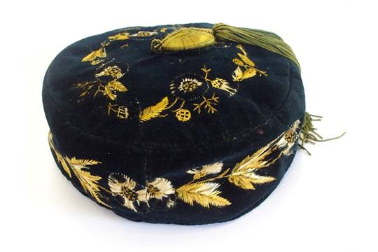 9181fe4e0 A Victorian gentleman's midnight blue velvet smoking hat with gold ...