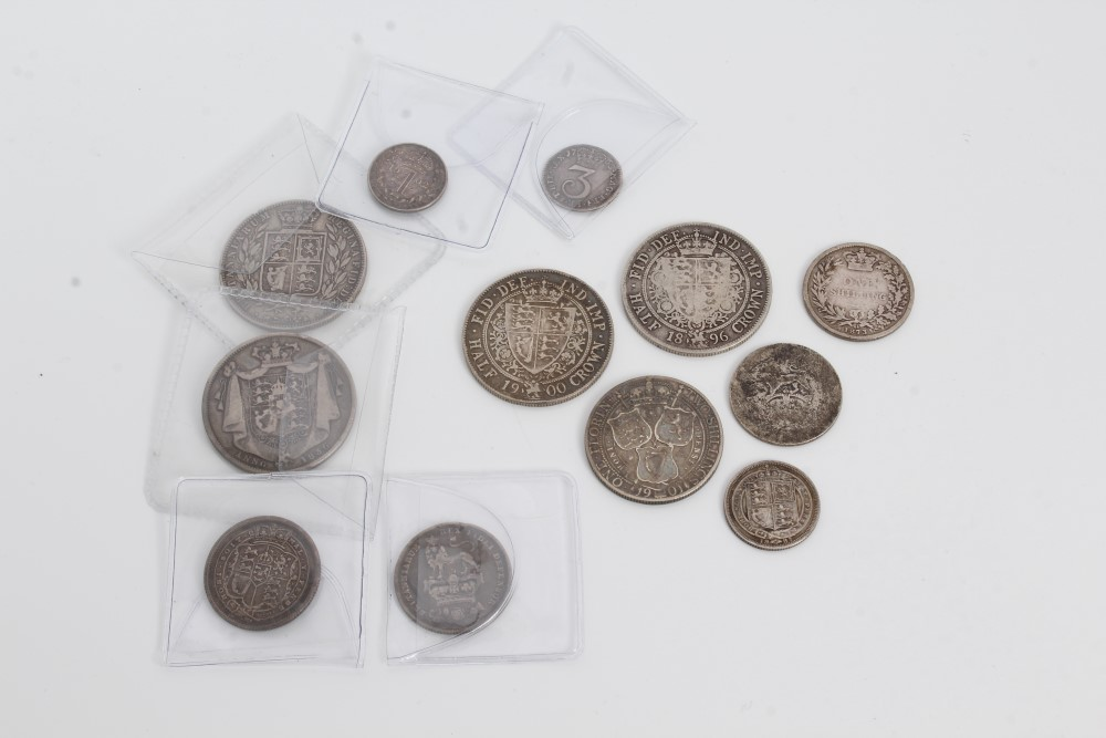 Lot 15 - G.B. pre-1920 mixed silver coinage - to include Half Crowns William IV 1836. AF, Victoria Y.H.