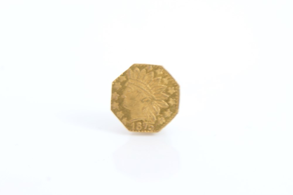 Lot 42 - U.S.A. California Territorial small Indian Head gold Quarter Dollar (octagonal) 1875 (N.B.